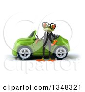 Clipart Of A 3d Bespectacled Green Business Springer Frog By A Convertible Car Royalty Free Illustration
