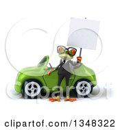 Clipart Of A 3d Bespectacled Green Business Springer Frog Holding A Blank Sign By A Convertible Car Royalty Free Illustration