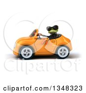 Clipart Of A 3d Green Business Springer Frog Wearing Sunglasses And Driving An Orange Convertible Car To The Left Royalty Free Illustration