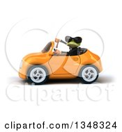 Clipart Of A 3d Green Business Springer Frog Wearing Sunglasses Giving A Thumb Down And Driving An Orange Convertible Car To The Left Royalty Free Illustration