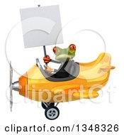 Clipart Of A 3d Green Business Springer Frog Aviator Pilot Holding A Blank Sign And Flying A Yellow Airplane To The Left Royalty Free Illustration