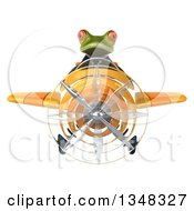 Clipart Of A 3d Green Business Springer Frog Aviator Pilot Flying A Yellow Airplane Royalty Free Illustration