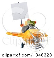 Clipart Of A 3d Green Business Springer Frog Aviator Pilot Holding A Blank Sign And Flying A Yellow Airplane Royalty Free Illustration