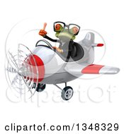 Clipart Of A 3d Bespectacled Green Business Springer Frog Aviator Pilot Giving A Thumb Up And Flying A White And Red Airplane To The Left Royalty Free Illustration