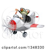 Clipart Of A 3d Bespectacled Green Business Springer Frog Aviator Pilot Giving A Thumb Down And Flying A White And Red Airplane To The Left Royalty Free Illustration