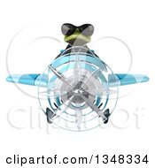 Clipart Of A 3d Green Business Springer Frog Aviator Pilot Wearing Sunglasses And Flying A Blue Airplane Royalty Free Illustration