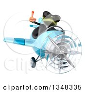 Clipart Of A 3d Green Business Springer Frog Aviator Pilot Wearing Sunglasses Giving A Thumb Up And Flying A Blue Airplane Royalty Free Illustration