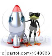 Clipart Of A 3d Green Business Springer Frog Wearing Sunglasses And Standing A Rocket Royalty Free Illustration