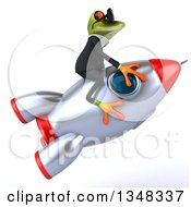 Clipart Of A 3d Green Business Springer Frog Wearing Sunglasses And Flying On A Rocket Royalty Free Illustration