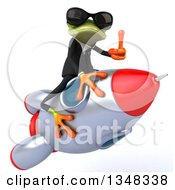 Clipart Of A 3d Green Business Springer Frog Wearing Sunglasses Giving A Thumb Up And And Flying On A Rocket Royalty Free Illustration