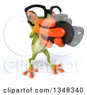 Clipart Of A 3d Bespectacled Green Springer Frog Taking Pictures With A Camera Royalty Free Illustration