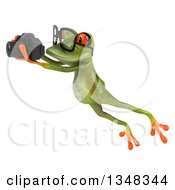 Clipart Of A 3d Bespectacled Green Springer Frog Leaping And Taking Pictures With A Camera Royalty Free Illustration