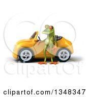 Clipart Of A 3d Green Springer Frog By A Yellow Car Royalty Free Illustration