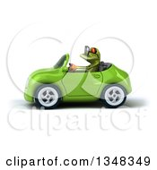 Clipart Of A 3d Bespectacled Green Springer Frog Driving A Convertible Car To The Left Royalty Free Illustration