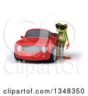 Clipart Of A 3d Green Springer Frog Wearing Sunglasses By A Red Convertible Car Royalty Free Illustration