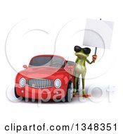 Clipart Of A 3d Green Springer Frog Wearing Sunglasses And Holding A Blank Sign By A Red Convertible Car Royalty Free Illustration