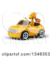 Clipart Of A 3d Yellow Dragon Giving A Thumb Up And Driving A Convertible Car To The Left Royalty Free Illustration