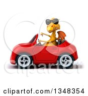 Clipart Of A 3d Yellow Dragon Wearing Sunglasses Giving A Thumb Down And Driving A Red Convertible Car To The Left Royalty Free Illustration