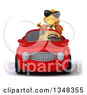 Clipart Of A 3d Yellow Dragon Wearing Sunglasses Giving A Thumb Up And Driving A Red Convertible Car Royalty Free Illustration