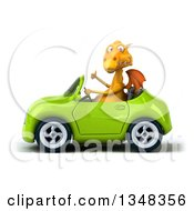 Clipart Of A 3d Yellow Dragon Giving A Thumb Up And Driving A Green Convertible Car To The Left Royalty Free Illustration by Julos