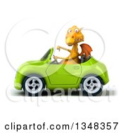 Clipart Of A 3d Yellow Dragon Giving A Thumb Down And Driving A Green Convertible Car To The Left Royalty Free Illustration by Julos