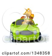 Clipart Of A 3d Yellow Dragon Driving A Green Convertible Car Royalty Free Illustration by Julos