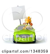 Clipart Of A 3d Yellow Dragon Holding A Blank Sign And Driving A Green Convertible Car Royalty Free Illustration by Julos