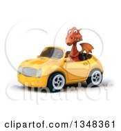 Clipart Of A 3d Red Dragon Driving A Yellow Convertible Car To The Left Royalty Free Illustration