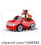Clipart Of A 3d Red Dragon Wearing Sunglasses And Driving A Convertible Car To The Left Royalty Free Illustration
