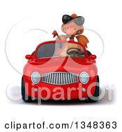 Clipart Of A 3d Red Dragon Wearing Sunglasses Giving A Thumb Down And Driving A Convertible Car Royalty Free Illustration
