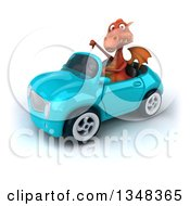 Clipart Of A 3d Red Dragon Giving A Thumb Down And Driving A Blue Convertible Car To The Left Royalty Free Illustration