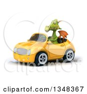 Clipart Of A 3d Green Dragon Driving A Yellow Convertible Car To The Left Royalty Free Illustration