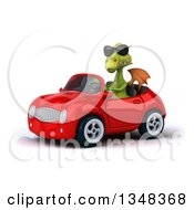 Clipart Of A 3d Green Dragon Wearing Sunglasses And Driving A Red Convertible Car To The Left Royalty Free Illustration