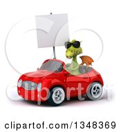 Clipart Of A 3d Green Dragon Wearing Sunglasses Holding A Blank Sign And Driving A Red Convertible Car To The Left Royalty Free Illustration