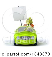 Clipart Of A 3d Green Dragon Holding A Blank Sign And Driving A Green Convertible Car Royalty Free Illustration