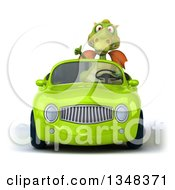 Clipart Of A 3d Green Dragon Giving A Thumb Up And Driving A Green Convertible Car Royalty Free Illustration