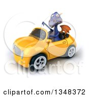 Clipart Of A 3d Purple Dragon Giving A Thumb Down And Driving A Yellow Convertible Car To The Left Royalty Free Illustration by Julos