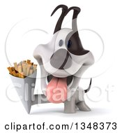 Clipart Of A 3d Jack Russell Terrier Dog Holding French Fries Royalty Free Illustration