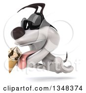 Clipart Of A 3d Jack Russell Terrier Dog Wearing Sunglasses Licking A Waffle Ice Cream Cone And Leaping To The Left Royalty Free Illustration