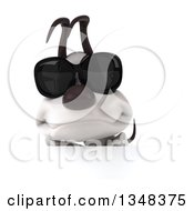 Clipart Of A 3d Jack Russell Terrier Dog Wearing Sunglasses Over A Sign Royalty Free Illustration