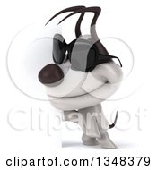 Clipart Of A 3d Jack Russell Terrier Dog Wearing Sunglasses By A Sign Royalty Free Illustration