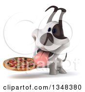 Clipart Of A 3d Jack Russell Terrier Dog Panting And Holding A Pizza Royalty Free Illustration
