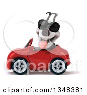Clipart Of A 3d Jack Russell Terrier Dog Wearing Sunglasses And Driving A Red Convertible Car To The Left Royalty Free Illustration