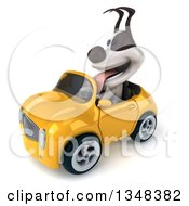 Clipart Of A 3d Jack Russell Terrier Dog Driving A Yellow Convertible Car To The Left Royalty Free Illustration