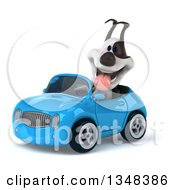 Clipart Of A 3d Jack Russell Terrier Dog Driving A Blue Convertible Car To The Left Royalty Free Illustration