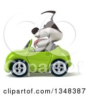 Clipart Of A 3d Jack Russell Terrier Dog Driving A Green Convertible Car To The Left Royalty Free Illustration