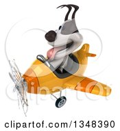 Clipart Of A 3d Jack Russell Terrier Dog Aviator Pilot Flying A Yellow Airplane To The Left Royalty Free Illustration