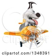 Clipart Of A 3d Jack Russell Terrier Dog Aviator Pilot Flying A Yellow Airplane Royalty Free Illustration
