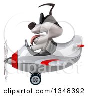 Clipart Of A 3d Jack Russell Terrier Dog Aviator Pilot Wearing Sunglasses And Flying A White And Red Airplane To The Left Royalty Free Illustration