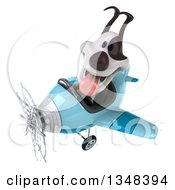 Clipart Of A 3d Jack Russell Terrier Dog Aviator Pilot Flying A Blue Airplane To The Left Royalty Free Illustration